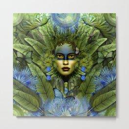 """Tropical green and indigo jungle Woman"" Metal Print"