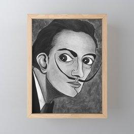 Salvador Dalí black and white portrait Framed Mini Art Print