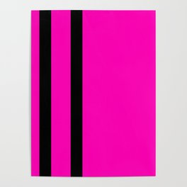 Hot Pink with Black Stripes Poster