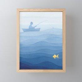 Fisherman & gold fish Framed Mini Art Print