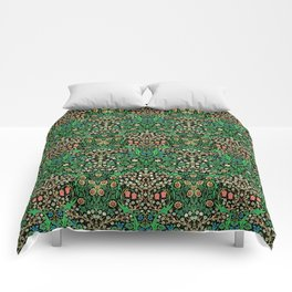 William Morris Jacobean Floral, Black Background Comforters