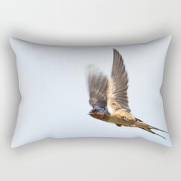 Male barn swallow in flight Rectangular Pillow