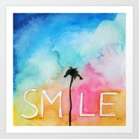 Palm tree Smile IN watercolor Art Print
