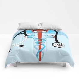 medical caduceus and stethoscope Comforters