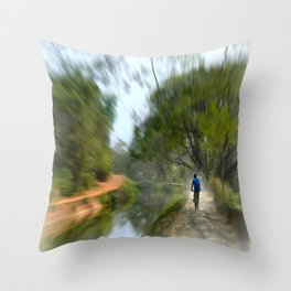 Epic Shot Cycling The Canal Route In Kerala, India Throw Pillow