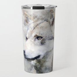 Watercolour grey wolf portrait Travel Mug