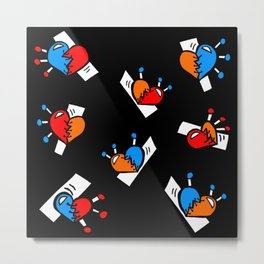 Hearts with Stitches - Blue Red Orange - Black Metal Print