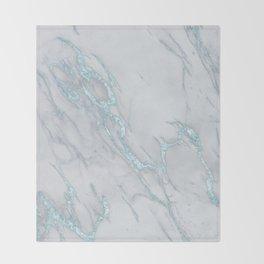 Marble Love Sea Blue Metallic Throw Blanket