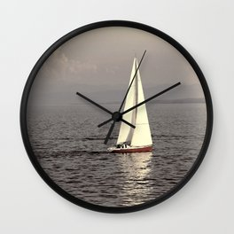 Sailing boat on the lake Wall Clock