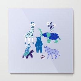 Blue pattern animals Metal Print