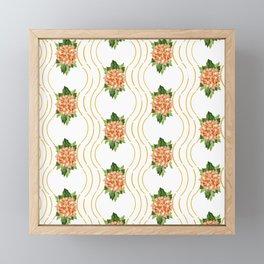 Coral and Deep Yellow Hydrangea Trellis Framed Mini Art Print