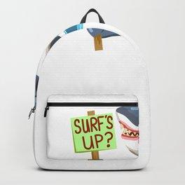Funny Shark Cartoon Surfs Up Shark Backpack