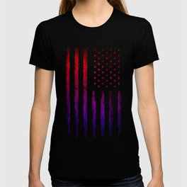 Red & blue gradient USA flag T-shirt