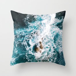 Waves and Sunshine from above – Ocean Photography Throw Pillow