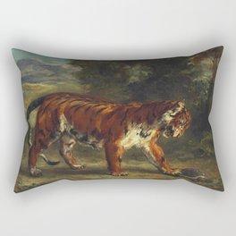 "Eugène Delacroix ""Tigre jouant avec une tortue"" Rectangular Pillow"