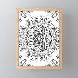 DEEP BLACK AND WHITE KALEIDOSCOPE Framed Mini Art Print