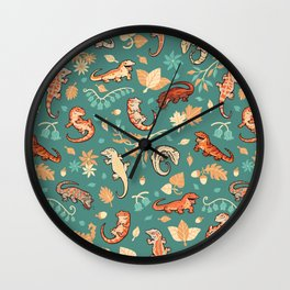 Autumn Geckos in green Wall Clock