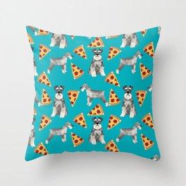 schnauzer pizza dog breed pet pattern dog mom Throw Pillow
