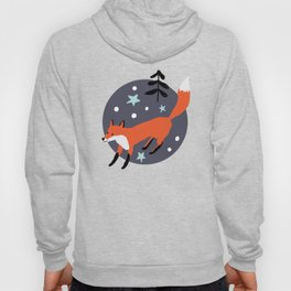 Red foxes in the nignt winter forest Hoody