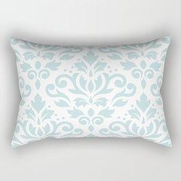 Scroll Damask Lg Pattern Duck Egg Blue on White Rectangular Pillow