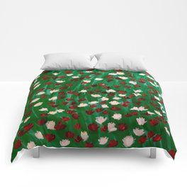 Red and White Flowers on Green Grass Comforters