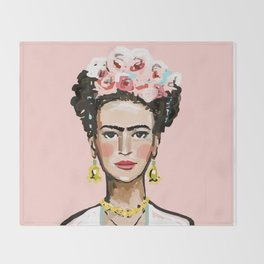 Face on Soft Pink Throw Blanket