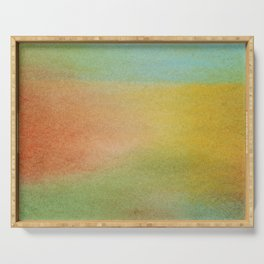 Exclusive abstract design made with warm colored chalks such as reddish, yellow, orange, green and blue Serving Tray