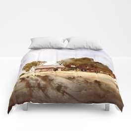 Lonely house on a hillfarm Comforters