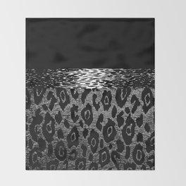 ANIMAL PRINT CHEETAH LEOPARD BLACK WHITE AND SILVERY GRAY Throw Blanket