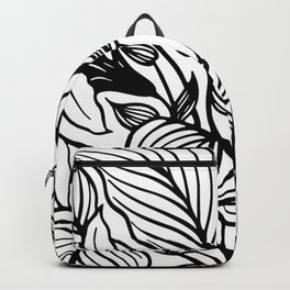 White And Black Floral Minimalist Backpack