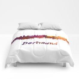 Dortmund skyline in watercolor Comforters