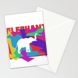 Elephant Colorful Mosaik Puzzle Stationery Cards