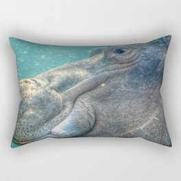 Hippopotamus Smiling Underwater Rectangular Pillow