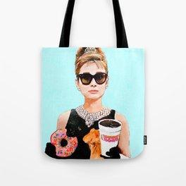 Breakfast at Dunkin Donuts - Audrey Hepburn Tote Bag