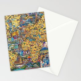 World Map Educational With Color Stationery Cards