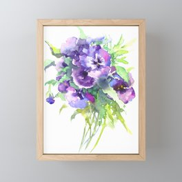 Pansy, flowers, violet flowers, gift for woman design floral vintage style Framed Mini Art Print