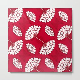 African Floral Motif on Red Metal Print