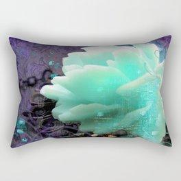 Aqua Rose Rectangular Pillow