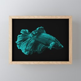 Aqua Blue Fighter Fish Art Framed Mini Art Print