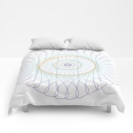Iridescent Spirograph Pattern I Comforters