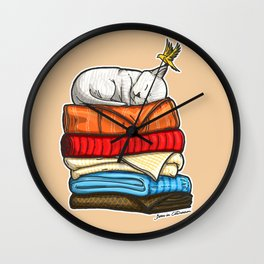 Sleepy Kitty Wall Clock