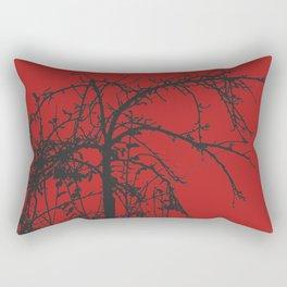 Creepy tree silhouette, black on red Rectangular Pillow