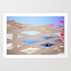 Peeping at Santorini Art Print