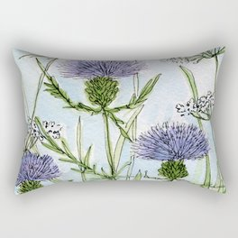 Thistle White Lace Watercolor Rectangular Pillow