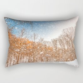 Snow Spattered Winter Forest Rectangular Pillow
