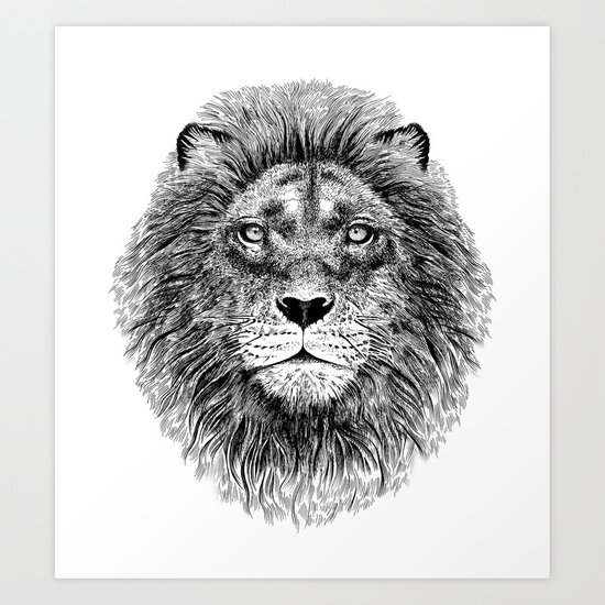 Black+White Lion Art Print