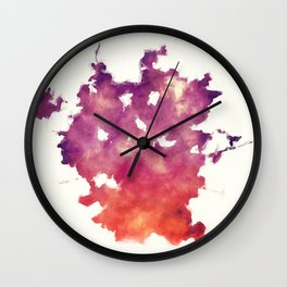 San Antonio city watercolor map in front of a white background Wall Clock