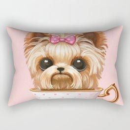 Yorkie In A Teacup Rectangular Pillow