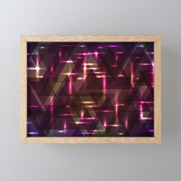 Glowing night purple triangles. Framed Mini Art Print