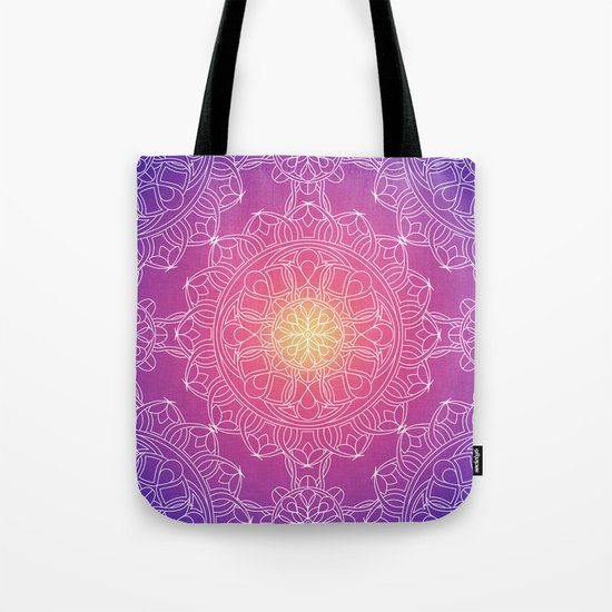White Lace Mandala in Purple, Pink, and Yellow Tote Bag